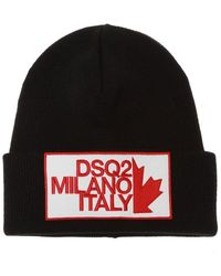 DSquared² Branded Wool Hat - Zwart