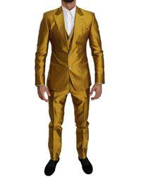 Dolce & Gabbana Silk Slim Fit 3 Piece Sicilia Suit - Geel