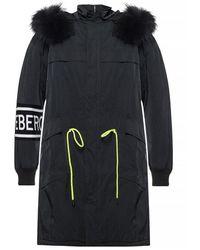 Iceberg Hooded Coat With Logo - Zwart