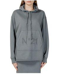 N°21 Hooded sweatshirt with logo - Grigio