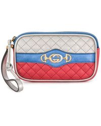 Gucci Iphone Case In Leather - Blauw