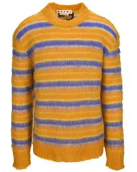 Marni Striped Brushed Mohair Knit Sweater - Geel