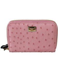 Dolce & Gabbana Ostrich Skin Leather Full Zipper Clutch Wallet - Roze