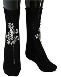 Dolce & Gabbana Knitted Floral Clear Crystal Socks - Zwart