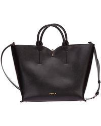 Furla Women's Leather Handbag Shopping Bag Purse Ribbon - Zwart