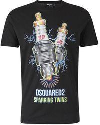 DSquared² Camiseta Sparking Twins - Zwart