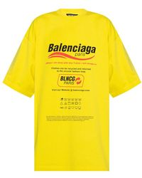 Balenciaga Oversize T-shirt With Logo - Geel