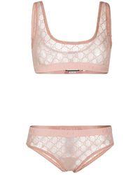 Gucci Conjunto de lencería con motivo GG - Rosa