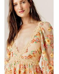 For Love & Lemons Winnie Embroidered Maxi Dress - Geel