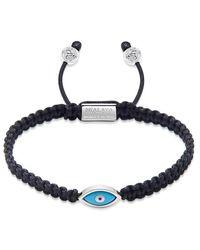 Nialaya Men's Black String Armband Met Silver Evil Eye - Zwart