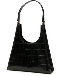 STAUD Rey Croco-embossed Leather Bag - Zwart