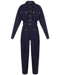 Balmain Wool jumpsuit - Azul