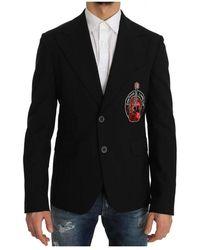 Dolce & Gabbana Wool Beaded Applique Jacket - Nero