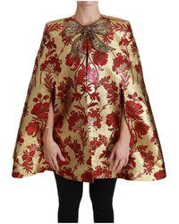 Dolce & Gabbana Jas Bloemen Crystal Bow Cape Jacket - Rood