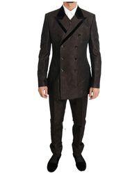 Dolce & Gabbana Zweireihiger Slim Fit Anzug - Braun