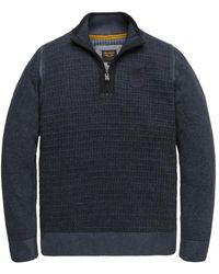PME LEGEND Trui- Pme Half Zip Collar Cotton Plated - Blauw