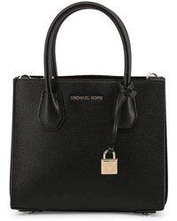 Michael Kors Mercer Pebbled Leather Crossbody Bag - Zwart