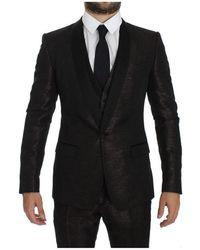 Dolce & Gabbana Glanzende 3 Piece Slim Suit Tuxedo - Zwart