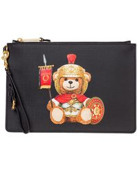 Moschino Women's Clutch Handbag Bag Purse Roman Teddy Bear - Zwart