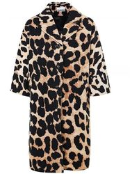 Ganni Linen Canvas Leopard Print Coat - Bruin