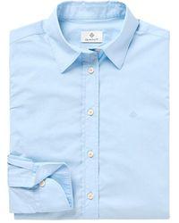 GANT - Solid Stretch Laken Shirt - Lyst