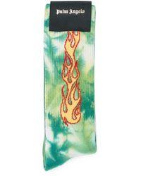 Palm Angels Tiedye Flames Socks Verde
