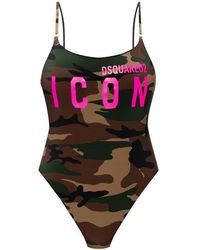 DSquared² One-piece Swimsuit With Logo - Groen