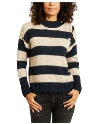 Leon & Harper Miaki Striped Sweater With Buttons - Blauw