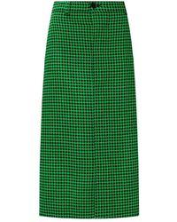 Balenciaga Houndstooth Skirt - Groen