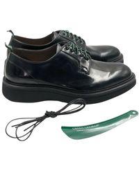 Green George Derby Shoes Polished - Zwart