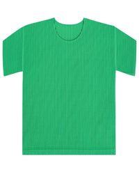 Issey Miyake Pleated T-shirt - Groen