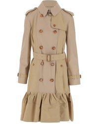 Burberry Trench Coat In Cotton - Naturel