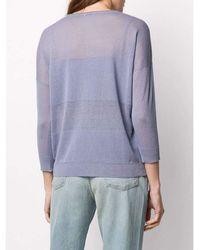 Peserico Sheer embellished stripe linen blend knitted top Morado - Azul