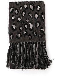 Alanui Leopard intarsia scarf - Negro