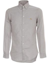 Etro - Slim Shirt Botton Down Logo - Lyst