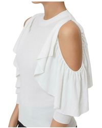 See By Chloé Off Shoulder Knit Top Blanco