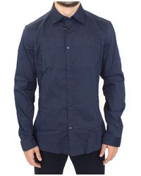 Ermanno Scervino Stretch Cotton Casual Long Sleeve Shirt - Blau