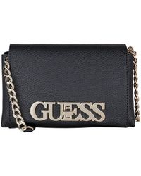 Guess Uptown Chic Mini Crossbody Flap - Zwart