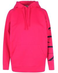 Valentino Hoodie With Logo On The Sleeve - Roze