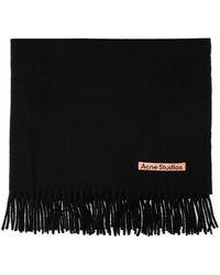 Acne Studios Echarpe laine avec logo - Noir