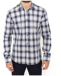 Ermanno Scervino Checkered Cotton Casual Shirt Top - Blauw