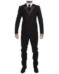 Dolce & Gabbana Gestreepte Wol Slim 3 Delig Pak Tuxedo - Bruin