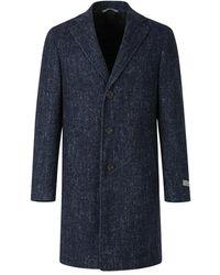 Canali Herringbone Coat - Blauw