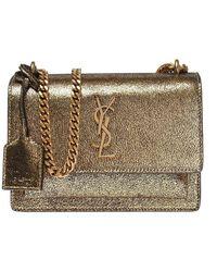 Saint Laurent Sunset Monogram Bag In Gold Leather - Naturel