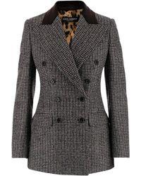 Dolce & Gabbana Jacket In Wool And Alpaca Pied De Poule Blend - Grijs