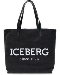 Iceberg Tote Bag With Logo - Zwart