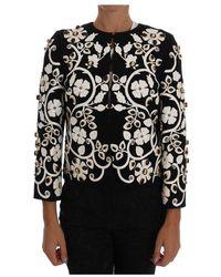 Dolce & Gabbana Baroque Floral Crystal Jacket - Zwart