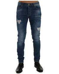 Frankie Morello Torn Dundee Slim Fit Jeans - Blu