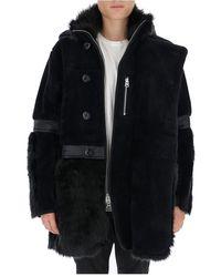Sacai Faux fur hooded coat Azul