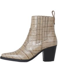 Ganni Westerse Leather Enkellaarzen - Naturel